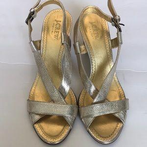 J. Crew Mila Stacked Heels in Platinum Gold 8